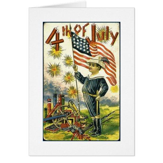 Flag Boy 4th of July Card