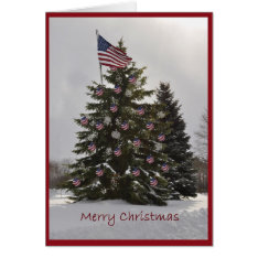 Flag Christmas Tree Card at Zazzle
