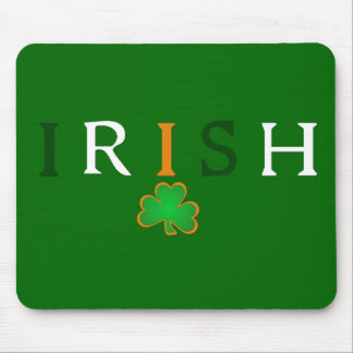 Flag Colored Irish with Shamrock Design Mouse Pads