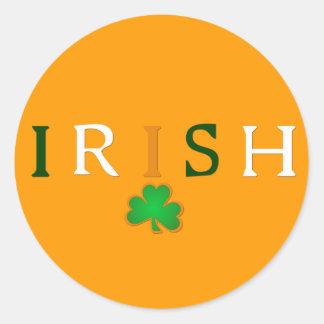 Flag Colored Irish with Shamrock Design Round Stickers