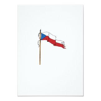Flag Czech Republic Torn Ripped Retro Card