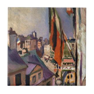 Flag Decorated Street by Pierre-Auguste Renoir Tile