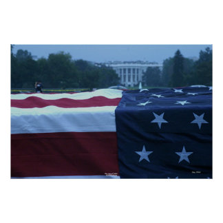 "Flag-draped ""Coffin"" and White House Poster"