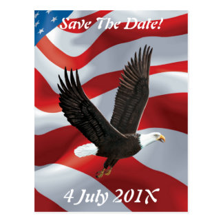 Flag & Eagle Save the Date Postcard