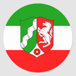 Flag - Fahne - Flag Germany North Rhine Westphalia Round Stickers