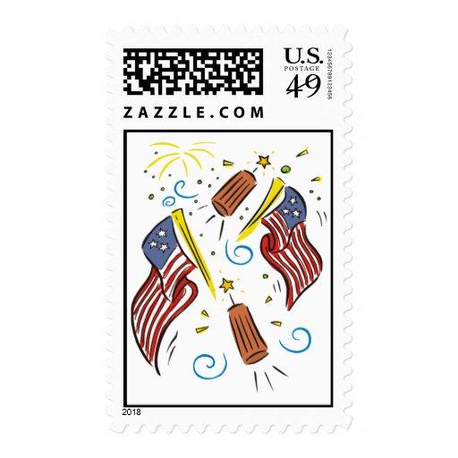 Flag, Firecracker and Fireworks 4th of July Stamps