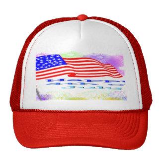 Flag Fireworks 4th of July Trucker Hat