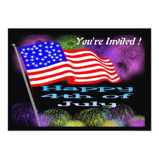 Flag Fireworks 4th of July Invitation