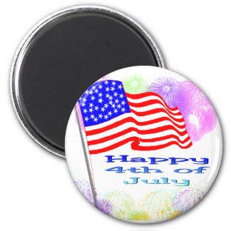 Flag Fireworks 4th of July Refrigerator Magnet