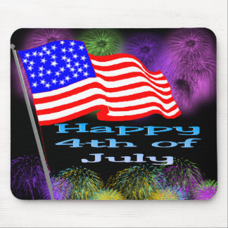 Flag Fireworks 4th of July Mouse Pad