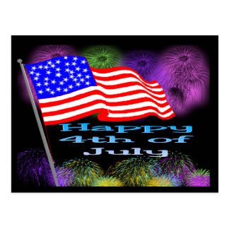 Flag Fireworks 4th of July Postcard