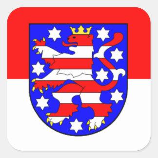 Flag - Flagge - Fahne Germany Thuringia Thüringen Square Sticker