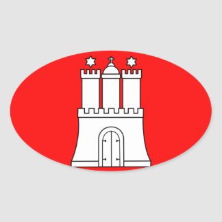 Flag - Flagge - Fahne - Hamburg Germany Oval Sticker
