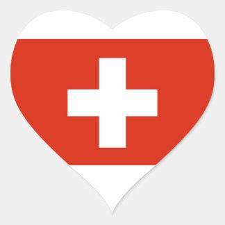 Flag - Flagge - Fahne - Switzerland - Schweiz Heart Stickers
