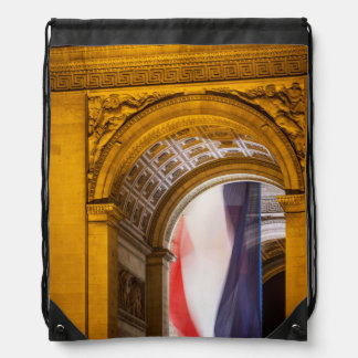 Flag Flies Inside The Arc De Triomphe, Paris Drawstring Bag