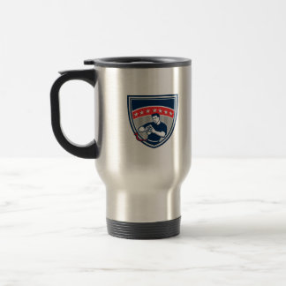 Flag Football QB Player Running Stars Crest Retro Travel Mug