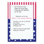 "Flag Fourth of July Party Invitation 5"" X 7"" Invitation Card"