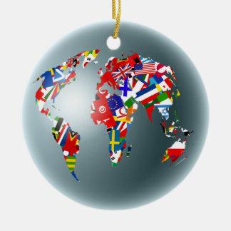 Flag Globe Ceramic Ornament