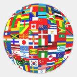 Flag Globe Classic Round Sticker