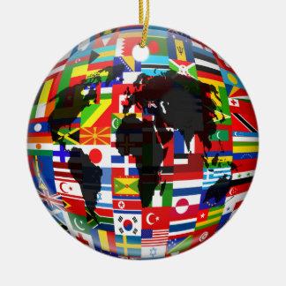 Flag Globe Double-Sided Ceramic Round Christmas Ornament
