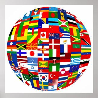 Flag Globe Poster