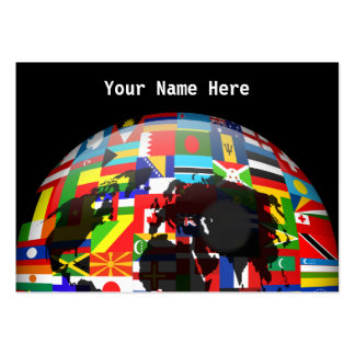 Flag Globe, Your Name Here Large Business Cards (Pack Of 100)