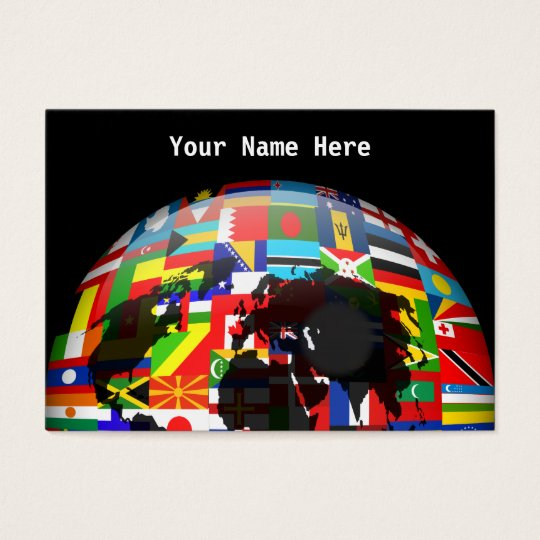 Flag Globe, Your Name Here Business Card