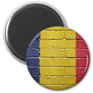 flag_grunge_wall_chad 2 inch round magnet