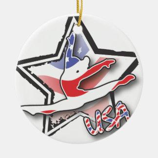 Flag Gymnast Ceramic Ornament