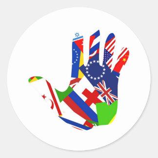 Flag Hand Classic Round Sticker