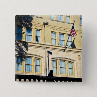 Flag hanging from a building, San Antonio, Pinback Button
