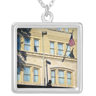 Flag hanging from a building, San Antonio, Silver Plated Necklace