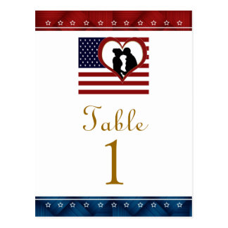 Flag Heart Patriotic Wedding Table Number Cards Postcard