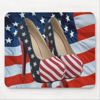 FLAG HIGH HEEL SHOES MOUSE PAD