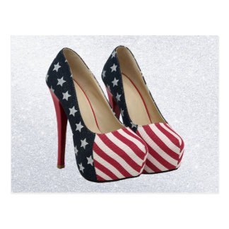 FLAG HIGH HEEL SHOES POSTCARD