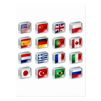 Flag icons buttons postcard