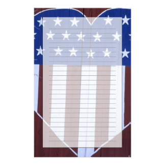 Flag in heart shape painted on barn after 9-11. stationery paper