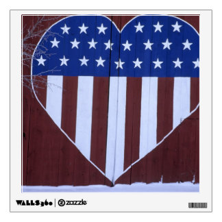 Flag in heart shape painted on barn after 9-11. wall decal