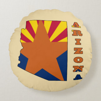 Flag in Map Arizona Round Pillow