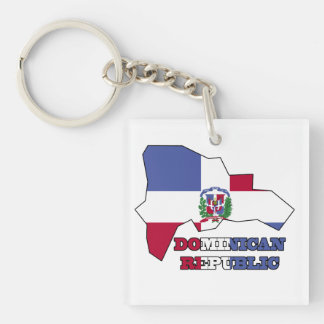 Flag in Map Dominican Republic Keychain