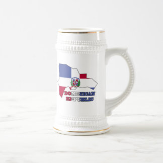 Flag in Map Dominican Republic 18 Oz Beer Stein