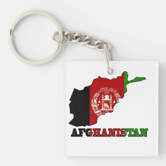 Flag in Map of Afghanistan Keychain