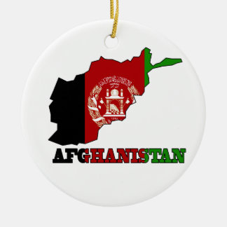 Flag in Map of Afghanistan Double-Sided Ceramic Round Christmas Ornament