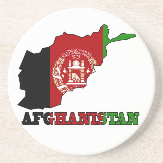 Flag in Map of Afghanistan Sandstone Coaster