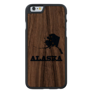 Flag in Map of Alaska Carved Walnut iPhone 6 Case