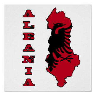 Flag in Map of Albania Poster