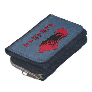 Flag in Map of Albania Wallet