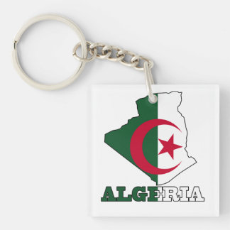 Flag in Map of Algeria Keychain