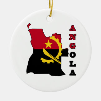 Flag in Map of Angola Ceramic Ornament