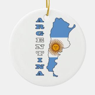 Flag in Map of Argentina Ceramic Ornament